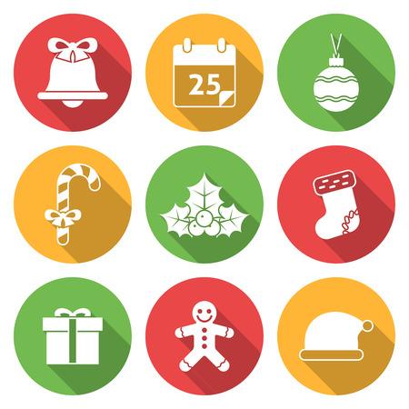 christmas sock: Christmas Icons with Long Shadows.