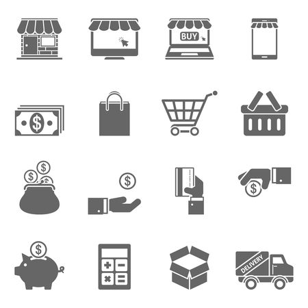 give and take: Online Shopping Icons.