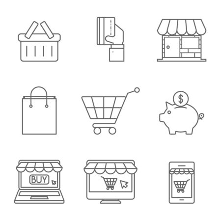 smart card: Online Shopping Icons Line.
