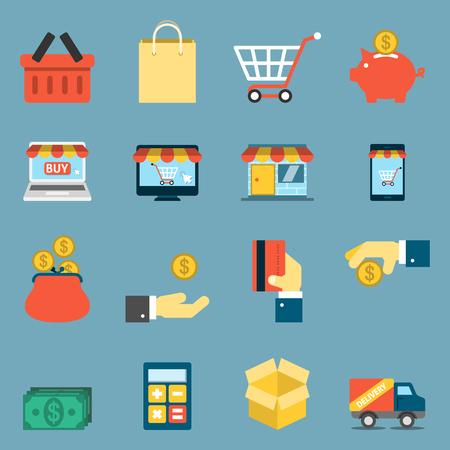 shopping icons: On Line Shopping Icons.  Illustration