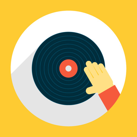and scratching: Hand Scratching Vinyl Record. Illustration