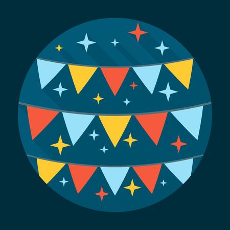 festive: Festive Flags Icon. Illustration