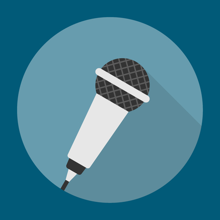 Microphone Icon Flat. Editable EPS vector format