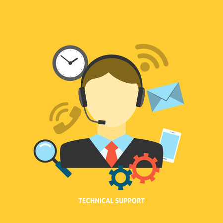computer support: Technical Support Concept. Editable EPS vector format