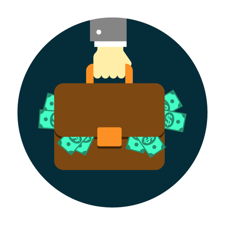 Hand with Briefcase. Editable EPS vector format