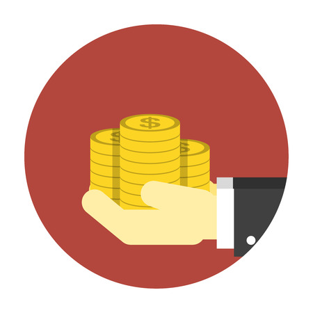 beg: Coins on hands icon. Editable EPS vector format Illustration