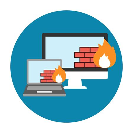 firewall icon: Firewall Icon Flat. Editable EPS vector format Illustration