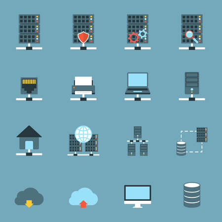 remote access: Server Hosting Icons Flat.