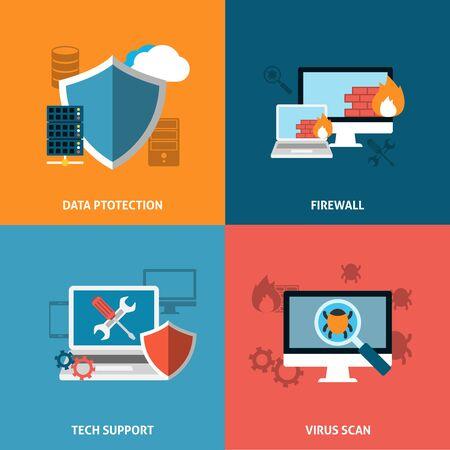 Données Protectoin Concept. Cryptage sécurisé Échange de stockage Flat Icons