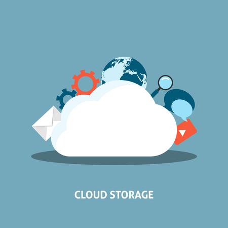 storage: Cloud Storage Concept. Data storage network technology