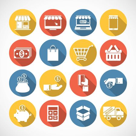 bank cart: On Line shopping icons with long shadow. Illustration