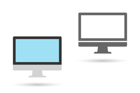 pc monitor: Pc monitor icon. Computer display isolated on white