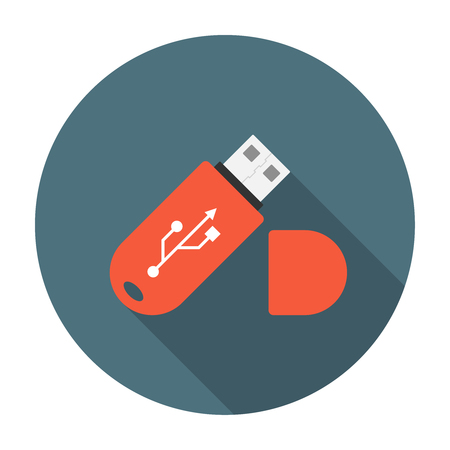 shadow effect: USB flash drive flat icon with long shadow effect