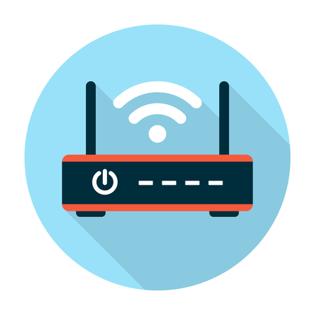 Wifi router icon flat. Editable Illustration