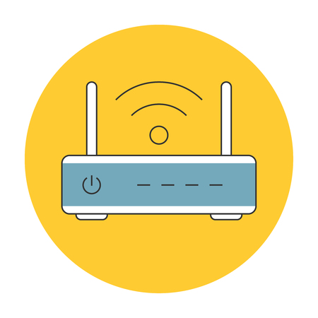network router: Wifi router outline icon flat. Wifi wireless internet sign