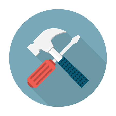 Screwdriver and hammer flat icon. Settings illustration