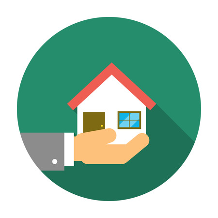 hand holding house: Hand holding house illustration. Home on the hand icon