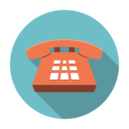 Desk Phone icon flat. Editable EPS format
