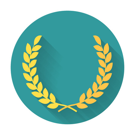 valor: Laurel Wreath flat icon. Symbol of the winner or valor and mind