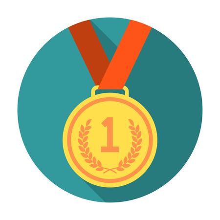 Goldmedaille flach Symbol. Goldene Medaille in flachen Stil mit langen Schatten