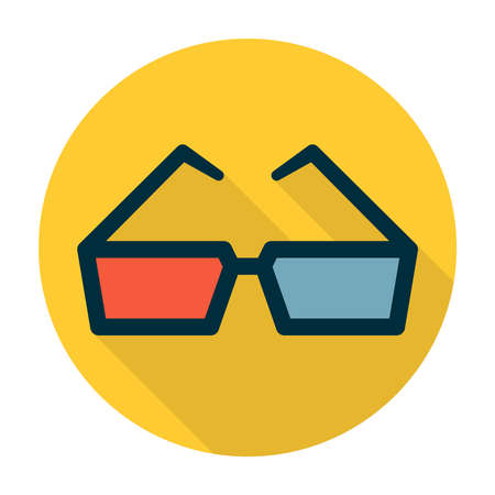 Cinema glasses with red and blue lens and dark frame