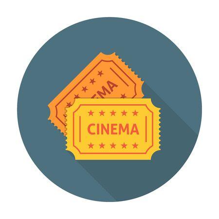releasing: Cinema ticket flat icon. Retro cinema tickets