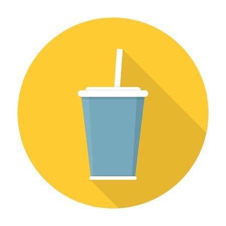 straw: Soda with straw flat icon.