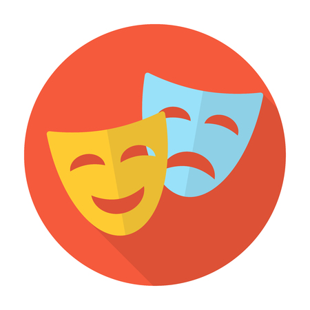 tragedy: Comedy and tragedy theatrical masks. Flat icons