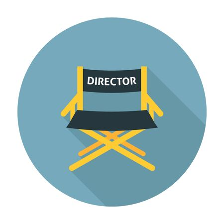 wooden chair: Directors chair flat icon. Wooden movie director chair
