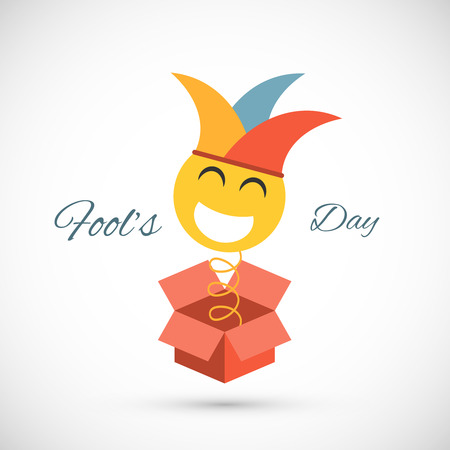 springing: Jester springing out of a box. Fools day illustration