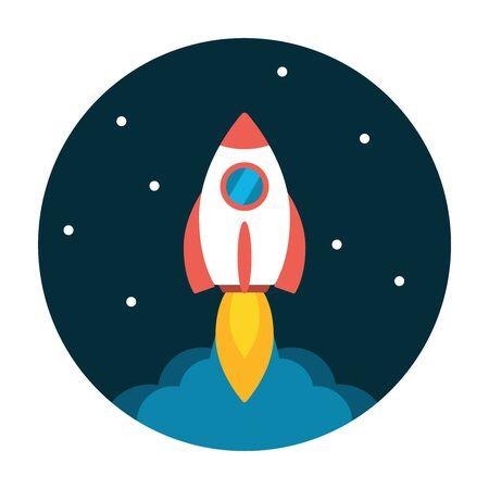rocketship: Rocket launch flat icon. Start up concept