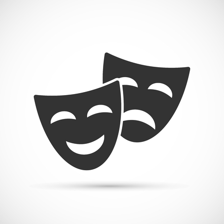 comedy mask: Comedy and tragedy theatrical masks icons. Flat icons