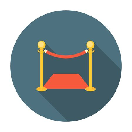 velvet rope barrier: Golden fence with red carpet. Flat style with long shadows Illustration