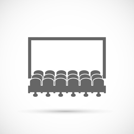 cinema screen: Cinema hall icon.  Rows of cinema seats in front of white blank screen Illustration