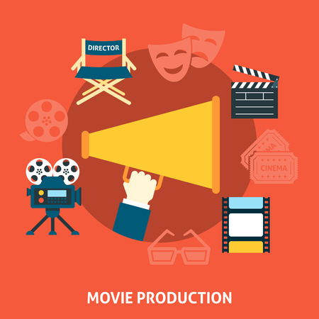 movie production: Movie production. Cinema flat design concept of movie production