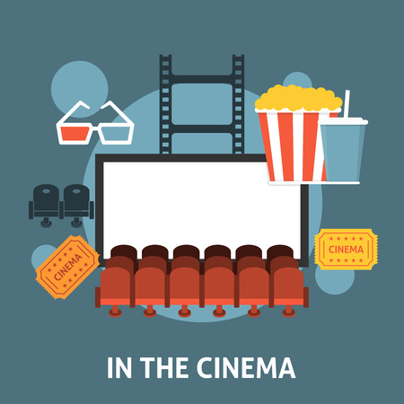 cinema viewing: Watching a movie in the cinema. Flat style design