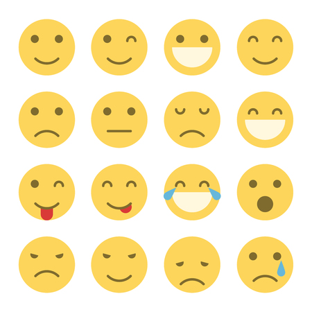 Emoji faces icons. Set of emoticons illustrations