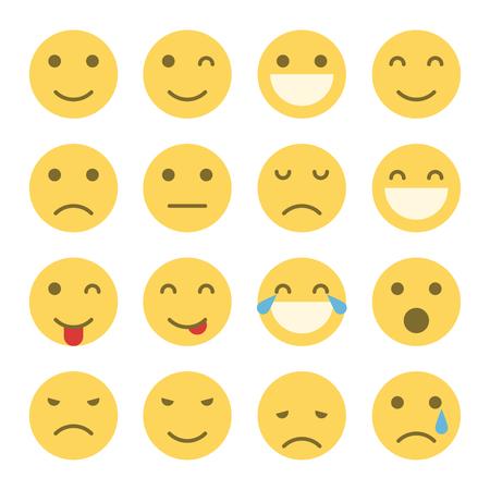 Emoji faces icons. Set of emoticons illustrations
