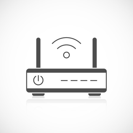 hub computer: Wireless router icon isolated on white background Illustration