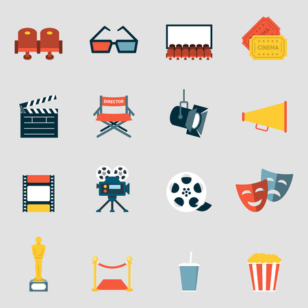 movie camera: Cinema icons flat. Making film and watch movie in the cinema icons collection