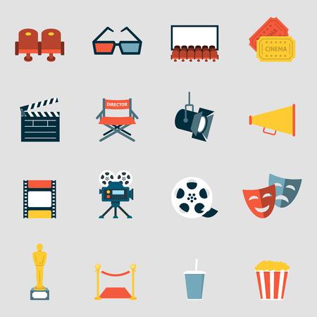 camara de cine: Los iconos del cine plana. Hacer la película y la película del reloj de la colección de iconos del cine Vectores