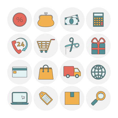 calculating: Shopping outine icons flat.  Calculating packing delivery payment elements illustration Illustration