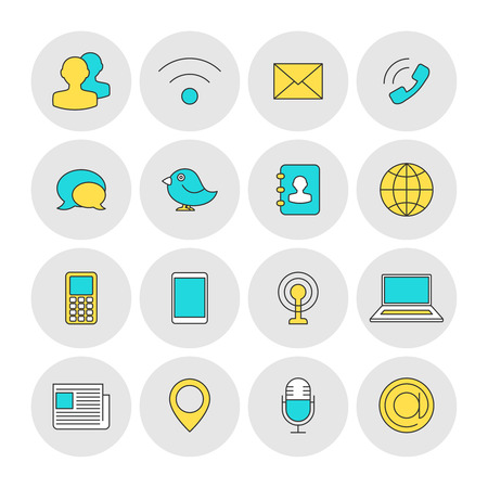 communication icons: Communication outline icons flat. Business contact concept Illustration