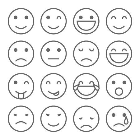 Emoji faces simple icons. Set of emoticons illustrations Zdjęcie Seryjne - 55119282