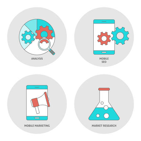 mobile marketing: Seo outline flat icons. Analysis, mobile seo, marketing and research concept Stock Photo
