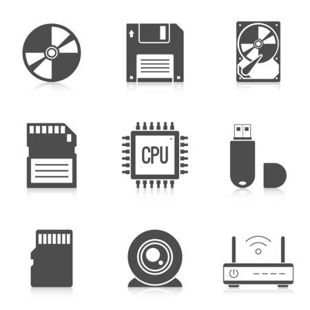 digital memory: Digital storage data icons. Devices torage memory