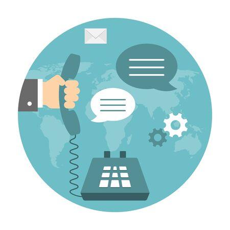 Online support concept. Hand holding hendset. Dialog illustration