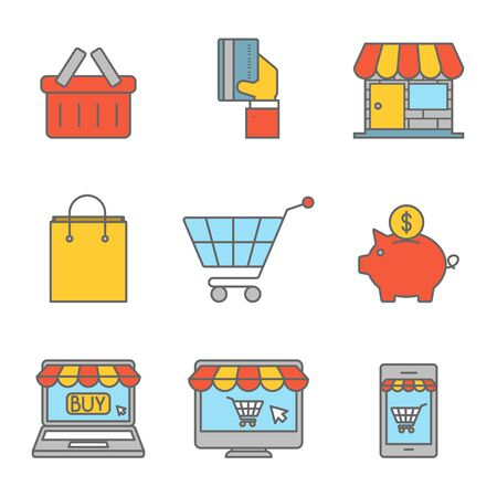 Online shopping outline flat icons. Purchasing product via internet