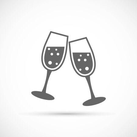 cocktail glasses: Glasses champagne icon. Vector illustration of sparkling champagne glasses