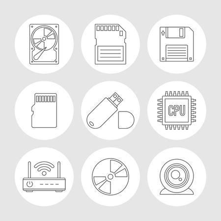 data memory: Data storage outline icons. Memory storage devices set